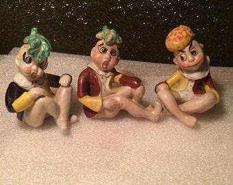 3 Vintage Hand Painted Curious Pixie Elf Figurines