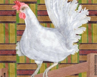 White Chicken Wall Art on Red Green and Yellow Square Stripe Pattern
