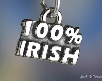 Sterling Silver 100 Percent Irish Charm Ireland Heritage Solid .925