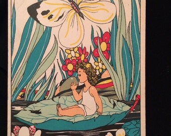 "Vintage Postcard -Artist Signed  -  "" Links "" - Thumbelina - Lilypad - Butterfly"