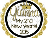 New Years IRON ON TRANSFER - Gold Glitter, 1st New Years, 2nd New Years, heat transfer, happy new year, baby girl, little girl, iron on