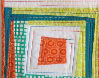 Modern Quilt, Wonky Log Cabin Quilt, Wall Hanging, Small Quilt, Turquoise Orange White Citrus