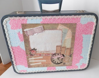Upcycled Monarch Suitcase - Cottage Chic Decorated Blue Luggage