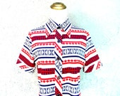 Another Marsha Brady Blouse - Vintage 70s Red White and Blue STRIPED Polyester Top - S M - Disco Seventies Party Costume Shirt Blouse