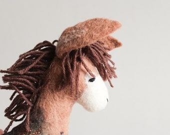 Felt Donkey - Bohdan. Handmade Felt Toy. Art Toy. Felted Animals, Stuffed toy, Marionette, Puppet. brown beige toffee. MADE TO ORDER.
