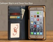 The Luxury Book Wallet Case for iPhone 6 Plus/6S Plus - Galloper Black and Deep Sea Blue