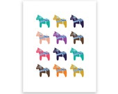Dala Horse Collection 5X7 Art Print/Wall Art - Baby Nursery Decor, Children's Room Decor and Home Decor
