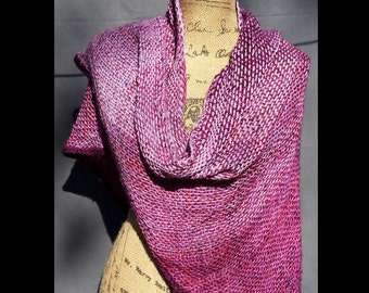 Handwoven Raspberry Triangle Loom Shawl