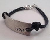 Men's silver custom stamped running bracelet