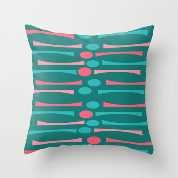 Items similar to Turquoise & Pink Pillow, Mid Century Modern Pillow, Geometric Pillow ...