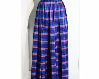VINTAGE 1960's Plaid Skirt // Full Length Purple, Pink, Blue Plaid Taffeta Evening Skirt w/ Sash Tie Belt