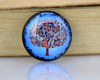 04 Circle Red Blue Tree Twist  Photo Glass Round Cabochon Image Paperweight crystal Dome Bead 10mm 12mm 14mm 16mm 18mm 20mm 22mm 25mm 30mm