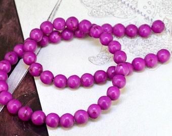 Charm 8MM Round Howlite Purple Turquoise Gemstone Beads One Strand Round Turquoise , Purple turquoise, Turquoise strand