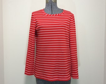 Vintage 70s Schrader Sport / Long Sleeve Shirt / Red with White Stripes M L
