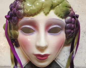 Clay Art Ceramic Wall Mask, Art Deco Style Girl with Grapes Wall Hanging, RARE