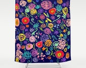 Bright, Colorful Floral Doodle print shower curtain. Pretty summery mix of hot pink, orange, lime green, teal, and yellow flowers.