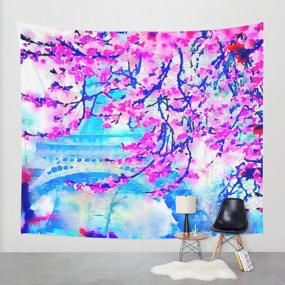 Paris Spring Blooms Flowers Eiffel Tower Watercolor Painting Magenta Pink Blue Wall Tapestry Paris Wall Art Colorful Home Decor Dorm Decor