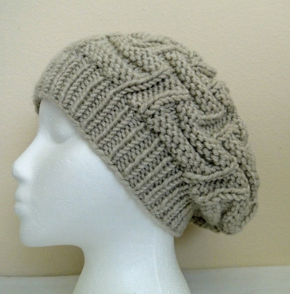 How To Loom Knit Slouchy Beanie Basketweave : Knit basket weave slouch hat