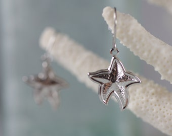 Allergy Free Starfish Dangle Hook Earrings - Gold or Silver