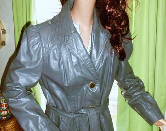 CLEARANCE 70s Gray Belted Leather Jacket SMALL