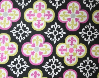 SALE> Black  & Pink Floral   Modern Apparel Quilting Designer  Cotton fabric by the yard.