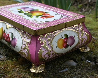 Vintage Tin Candy Tin Pink and Gold Fruit Motif Embossed Candy or Bonbon Footed Container Box Made in Germany