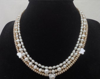 Pearls Multistrand Necklace, Statement Pearls Necklace, White and Peach Pearls Necklace, Bridal Necklace