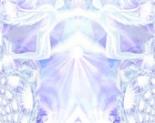 """Crown Chakra Angel Art, Spiritual Energy White Violet Pastel Wall Decor """"You Are Loved"""""""