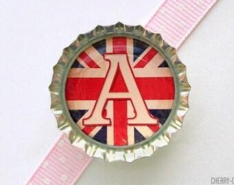 Union Jack Flag Letter Bottle Cap Magnet - letter magnet, british flag magnet, fridge magnet, magnet letter, art magnet, personalized letter