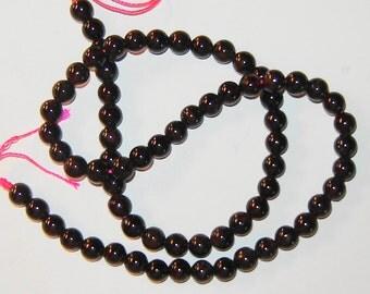 6mm GENUINE Natural round Beautiful Red/Brown GARNET gemstone beads, 15 1/2 inch strand, (gr3)