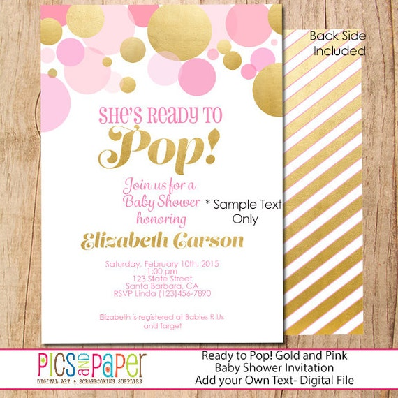 pink and gold baby shower invitation she 39 s ready to pop modern