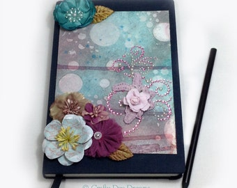 Bubbles and Flowers Mixed Media Blue and Pink Altered Journal with Lined Pages
