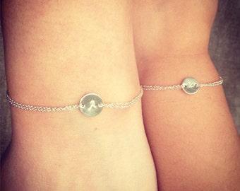 Mother and daughter bracelets, monogram bracelets, sterling silver, initial bracelets, childs bracelet, matching bracelets