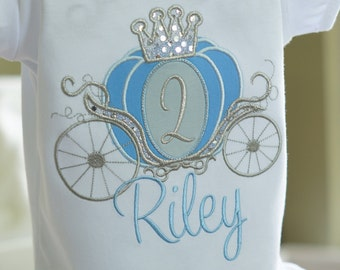 Blue Cinderella Carriage Princess Birthday Toddler Tee Shirt - ANY AGE - Blue, light blue, silver