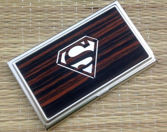 SUPERMAN Wood Business Card Case ID/Card Holder,Superman Card Holder,Superman Wallet,Superhero,Wood Card Wallet,Valentines Day Gifts For Him