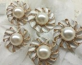 Gold Round Metal Buttons with Rhinestones and Large Ivory Pearl.10 Pieces. 20 MM. Bridal Embellishment