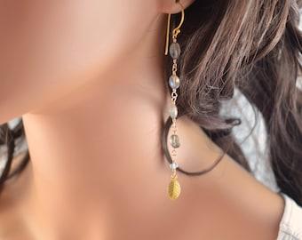 Long Labradorite Earrings, Blue Topaz Gemstones, Shoulder Dusters, Sterling Silver or Gold Leaf, Bohemian Boho Jewelry, Free Shipping