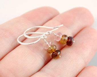 Tourmaline Earrings, Gemstones Stacks, Pink Coffee Brown, Gold or Sterling Silver Jewelry, Neapolitan, October Birthstone, Free Shipping