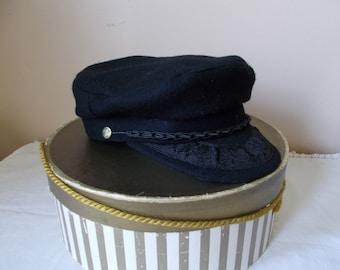 Vintage Authentic Greek Fishermen Cap with Hat Box