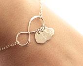 Personalized Infinity Bracelet, Initial Bracelet, Personalized Bracelet, Sterling Silver Infinity Necklace, Mother's Bracelet