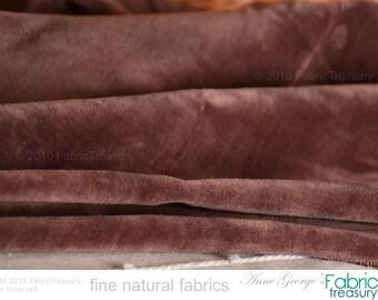 "Cotton velvet fabric by the yard. Brown Velvet. Organic fabric by the Yard. Plush cotton . Velvet Fabric. DOLCE VITA. Cocoa Pod. 47"" wide."