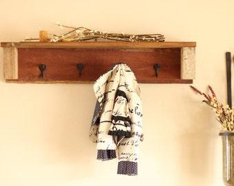 Barn wood coat or hat rack with shelf 100 year old barn wood