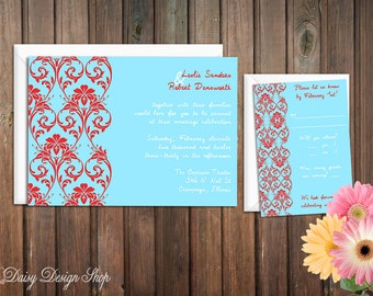 Wedding Invitation - Damask Flourish Border in Aqua and Red - Invitation and RSVP Card with Envelopes