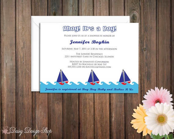 Baby Shower Invitation - Sailboats in the Water - Red White and Blue