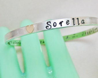 Heart of 14k Gold Solid Sterling Silver Personalized Bangle Optional 14k Heart Accent Custom Made in Your Size