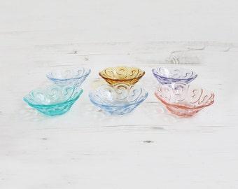 Vintage Rainbow Glass Desert Bowl - Swirl Pudding Glassware Kitchenware Blue purple pink orange