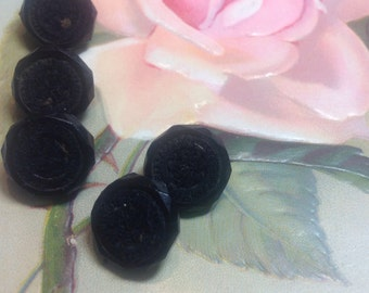 Five Faceted Black Glass Framed Buttons with Crocheted Center