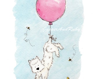 Westie Dog Children's Wall Art- 5x7 8X10 11x14 PRINT- Terrier with Pink Balloon- Baby Girl Nursery Art- Pink Nursery Decor- Children's Art