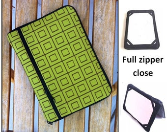 personalized HARD case - ipad case/ kindle case/ nook case/ samsung case/ others - full zipper close - green squares