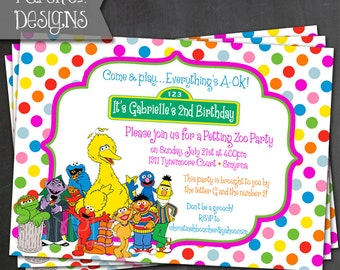 Sesame Street Birthday Invite - PRINTABLE or PRINTED Invitations